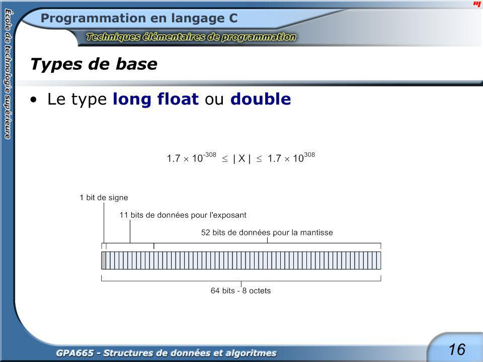 16 Types de base Le type long float ou double