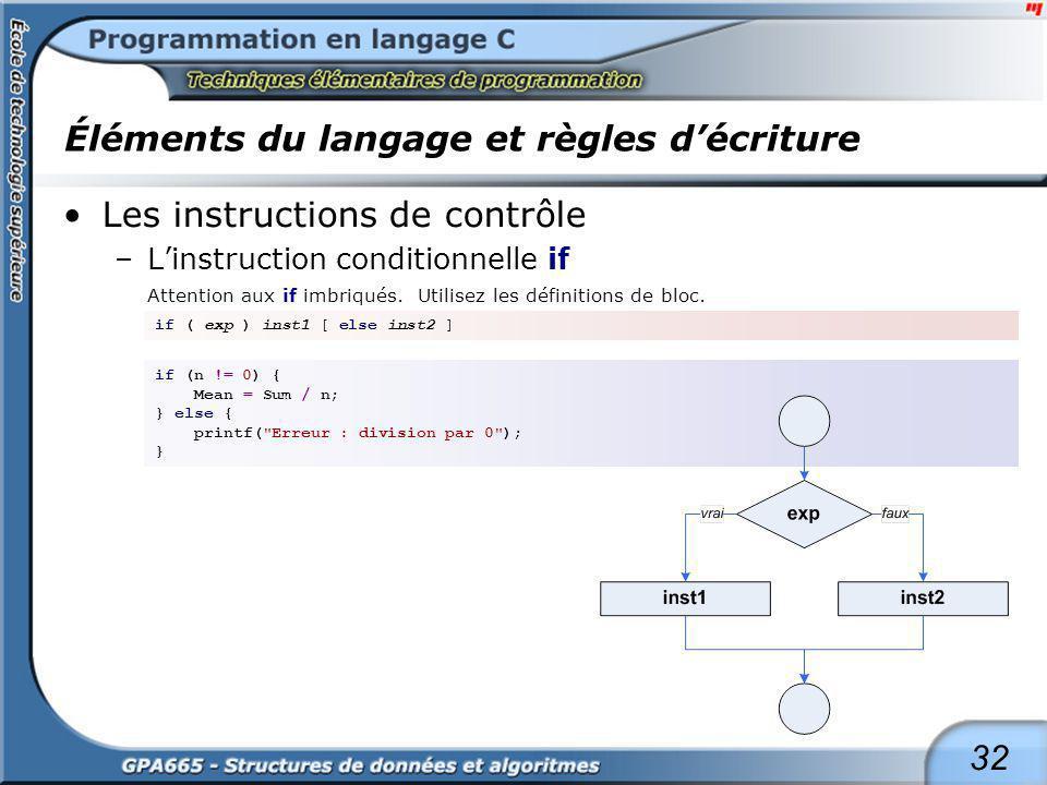 32 Éléments du langage et règles décriture Les instructions de contrôle –Linstruction conditionnelle if Attention aux if imbriqués. Utilisez les défin