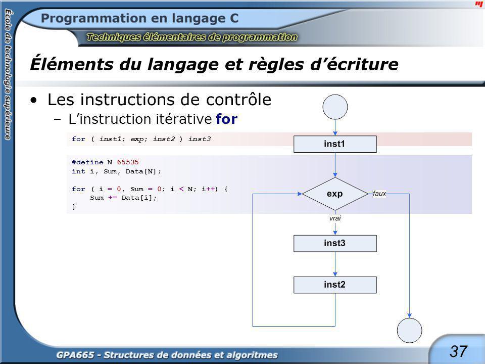 37 Éléments du langage et règles décriture Les instructions de contrôle –Linstruction itérative for for ( inst1; exp; inst2 ) inst3 #define N 65535 in