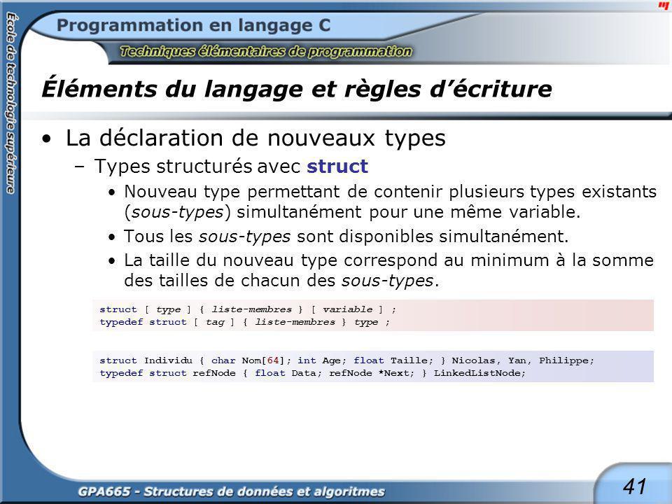 41 Éléments du langage et règles décriture La déclaration de nouveaux types –Types structurés avec struct Nouveau type permettant de contenir plusieur