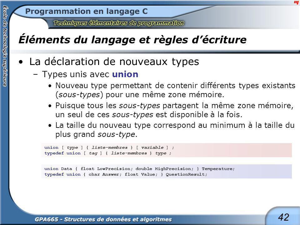 42 Éléments du langage et règles décriture La déclaration de nouveaux types –Types unis avec union Nouveau type permettant de contenir différents type