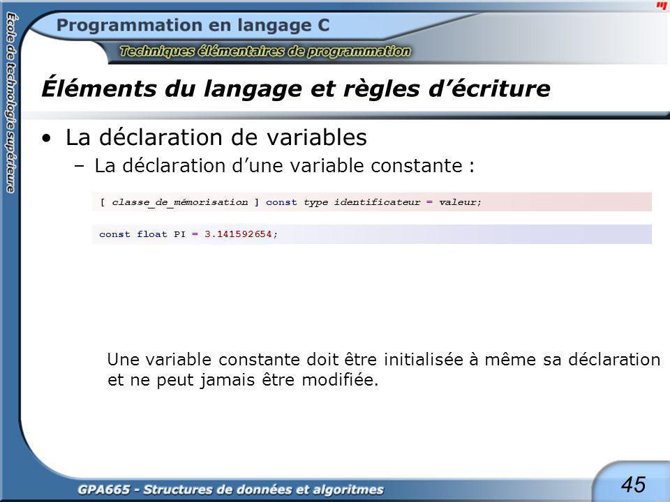 45 Éléments du langage et règles décriture La déclaration de variables –La déclaration dune variable constante : Une variable constante doit être init