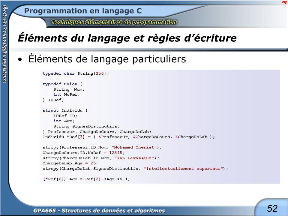 52 Éléments du langage et règles décriture Éléments de langage particuliers typedef char String[256]; typedef union { String Nom; int NoRef; } IDRef;