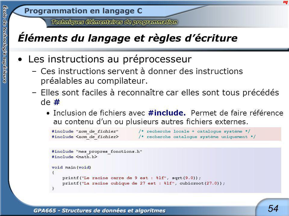54 Éléments du langage et règles décriture Les instructions au préprocesseur –Ces instructions servent à donner des instructions préalables au compila