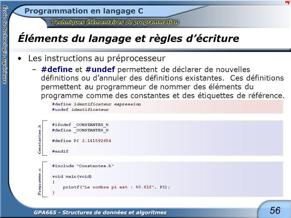 56 Éléments du langage et règles décriture Les instructions au préprocesseur –#define et #undef permettent de déclarer de nouvelles définitions ou dan