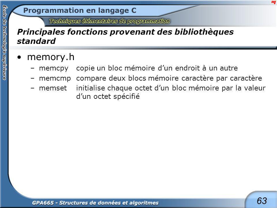 63 Principales fonctions provenant des bibliothèques standard memory.h –memcpycopie un bloc mémoire dun endroit à un autre –memcmpcompare deux blocs m