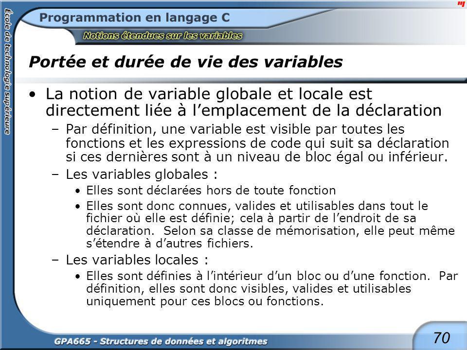 70 Portée et durée de vie des variables La notion de variable globale et locale est directement liée à lemplacement de la déclaration –Par définition,