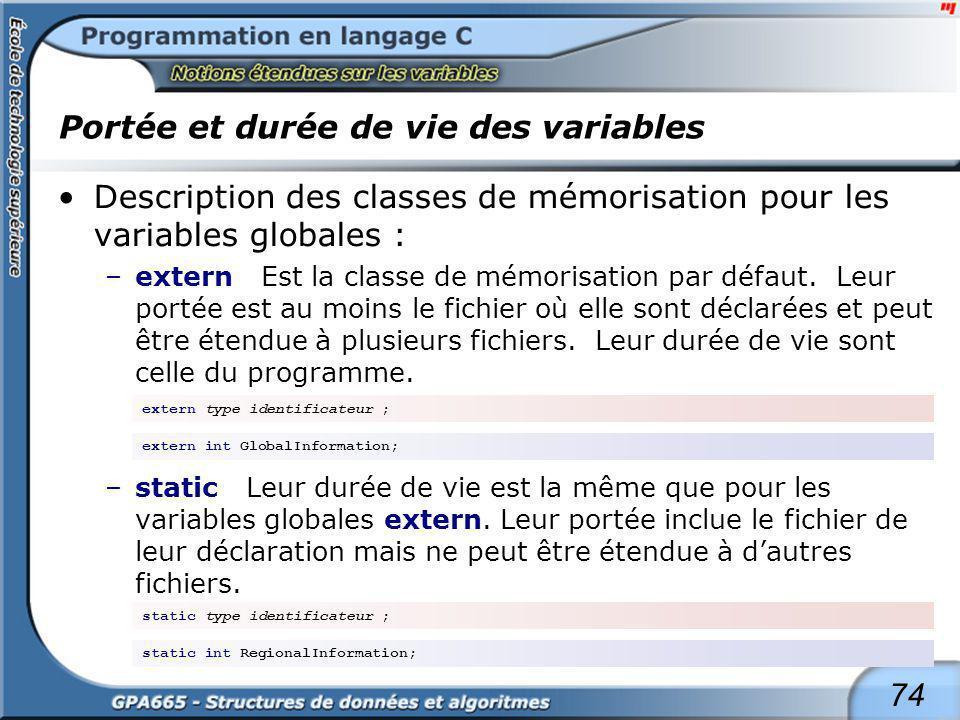 74 Portée et durée de vie des variables Description des classes de mémorisation pour les variables globales : –extern Est la classe de mémorisation pa