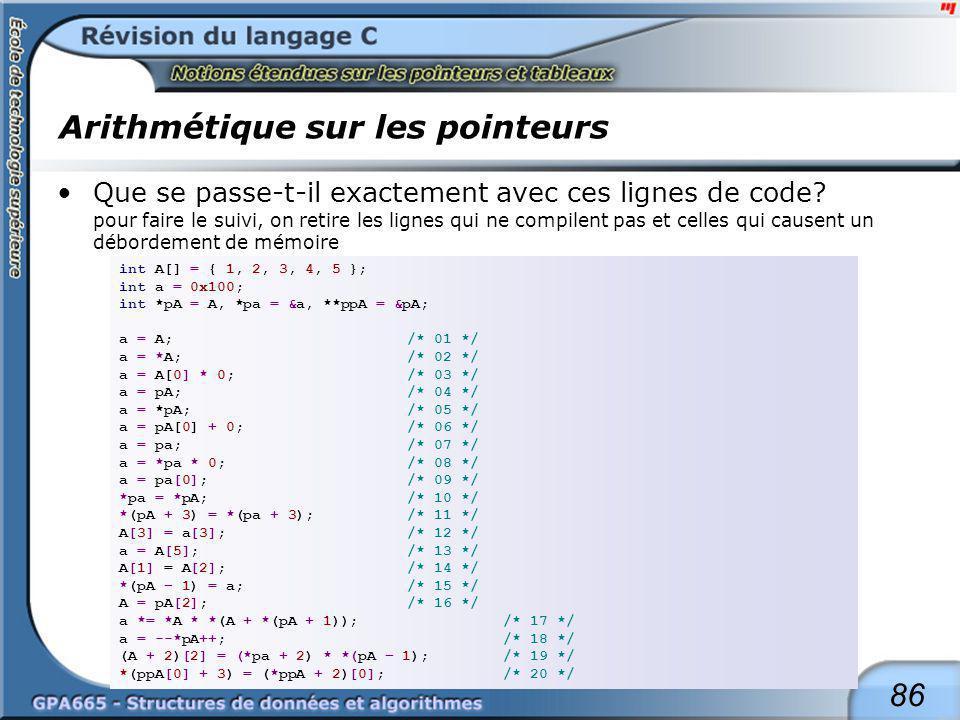86 Arithmétique sur les pointeurs Que se passe-t-il exactement avec ces lignes de code? pour faire le suivi, on retire les lignes qui ne compilent pas