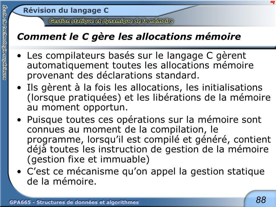 88 Comment le C gère les allocations mémoire Les compilateurs basés sur le langage C gèrent automatiquement toutes les allocations mémoire provenant d
