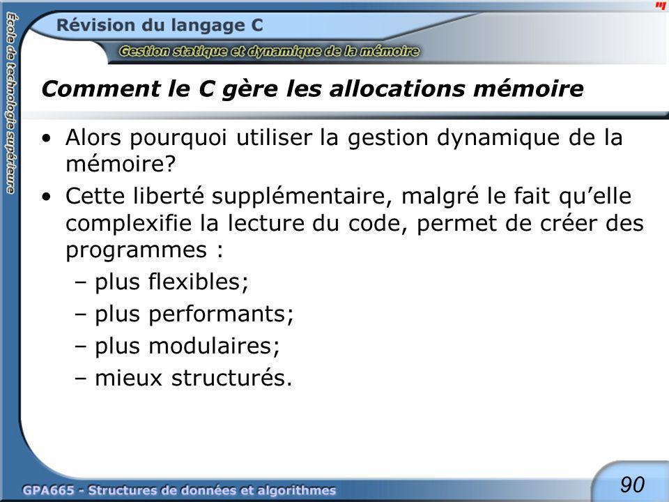 90 Comment le C gère les allocations mémoire Alors pourquoi utiliser la gestion dynamique de la mémoire? Cette liberté supplémentaire, malgré le fait