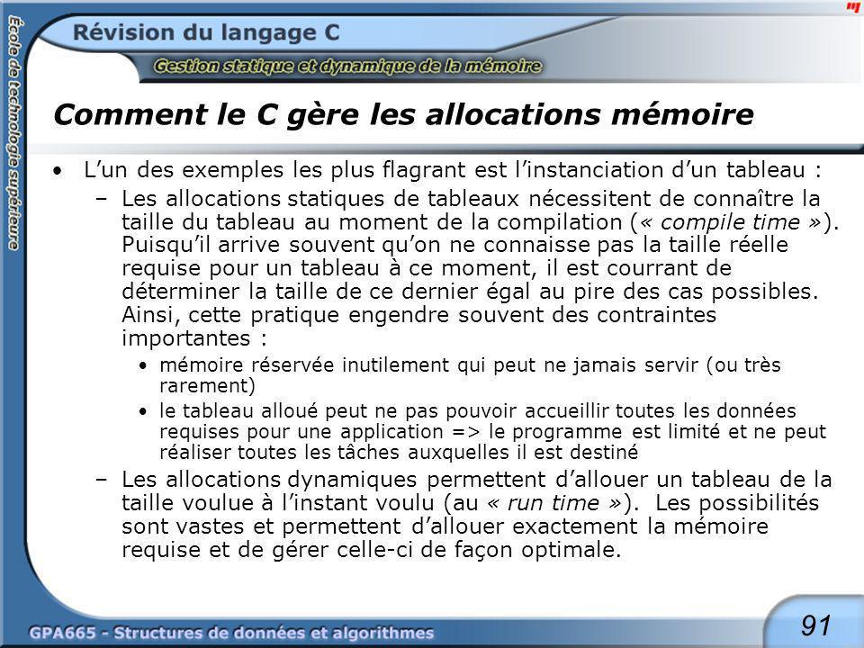 91 Comment le C gère les allocations mémoire Lun des exemples les plus flagrant est linstanciation dun tableau : –Les allocations statiques de tableau