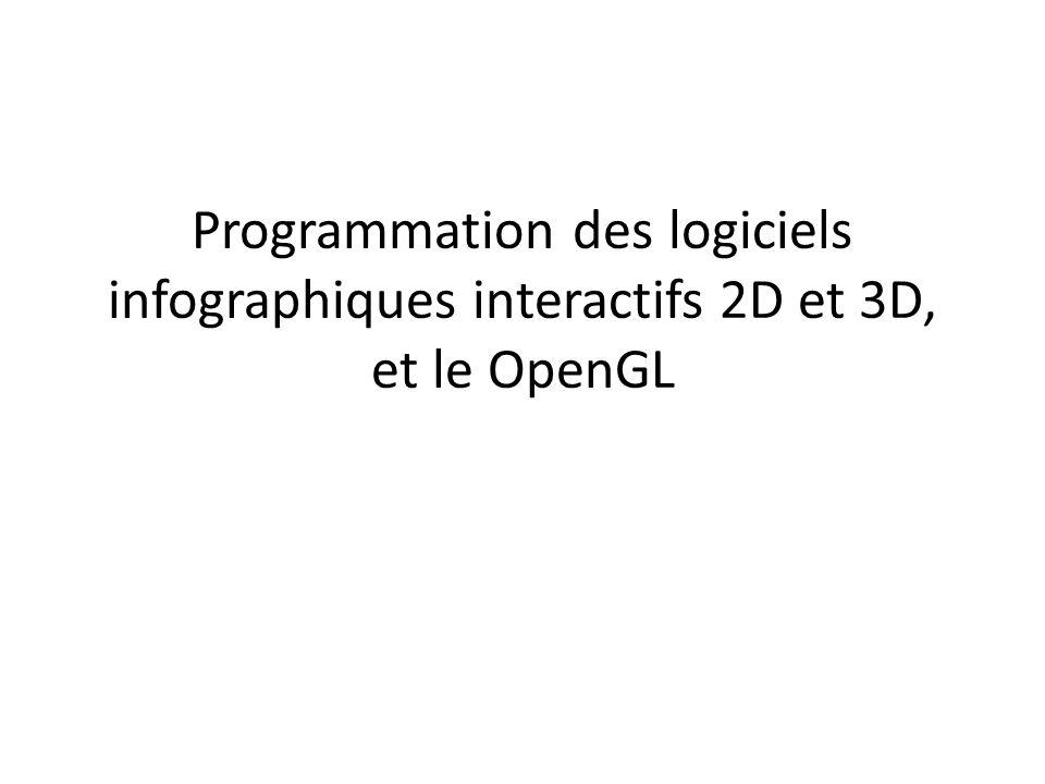 Esquisse de code glMatrixMode( GL_PROJECTION ); glLoadIdentity(); … setup camera view … glMatrixMode( GL_MODELVIEW ); glLoadIdentity(); glClear( GL_COLOR_BUFFER_BIT   GL_DEPTH_BUFFER_BIT ); glDepthFunc( GL_LEQUAL ); glEnable( GL_DEPTH_TEST ); glEnable( GL_CULL_FACE ); glFrontFace( GL_CCW ); glDisable( GL_LIGHTING ); glShadeModel( GL_FLAT ); glBegin( GL_TRIANGLES ); glColor3f( 1, 0, 0 ); glVertex3f( 0, 0, 0 ); glVertex3f( 0.5f, 0, 0 ); glVertex3f( 0, 1, 0 ); glVertex3f( 0, 0, 1 ); glVertex3f( 0.5f, 0, 1 ); glVertex3f( 0, 1, 1 ); glColor3f( 0, 1, 0 ); glVertex3f( 0, 0, 2 ); glVertex3f( 0.5f, 0, 2 ); glVertex3f( 0, 1, 2 ); glEnd(); glBegin(...