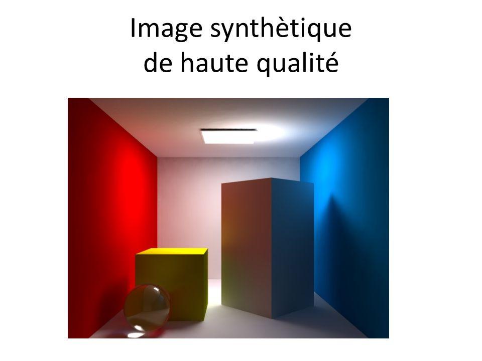 Les images précédentes contiennent des ombres douces, reflets spéculaires et diffus, réfractions, etc.