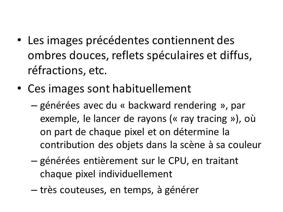 Le « Forward Rendering » Des images de plus basse qualité peuvent être générées avec du « forward rendering », où on part des objets dans la scène et on détermine quels pixels ils recouvrent (Cela est souvent plus rapide et, aujourdhui, est supporté au niveau matériel par les GPUs) Exemples …