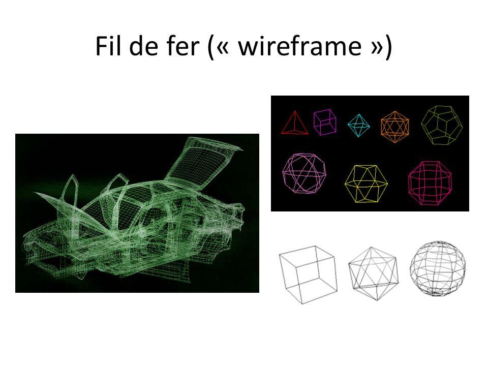Mesh de polygones Fil de fer avec les « back faces » Fil de fer sans les « back faces » Polygones remplis