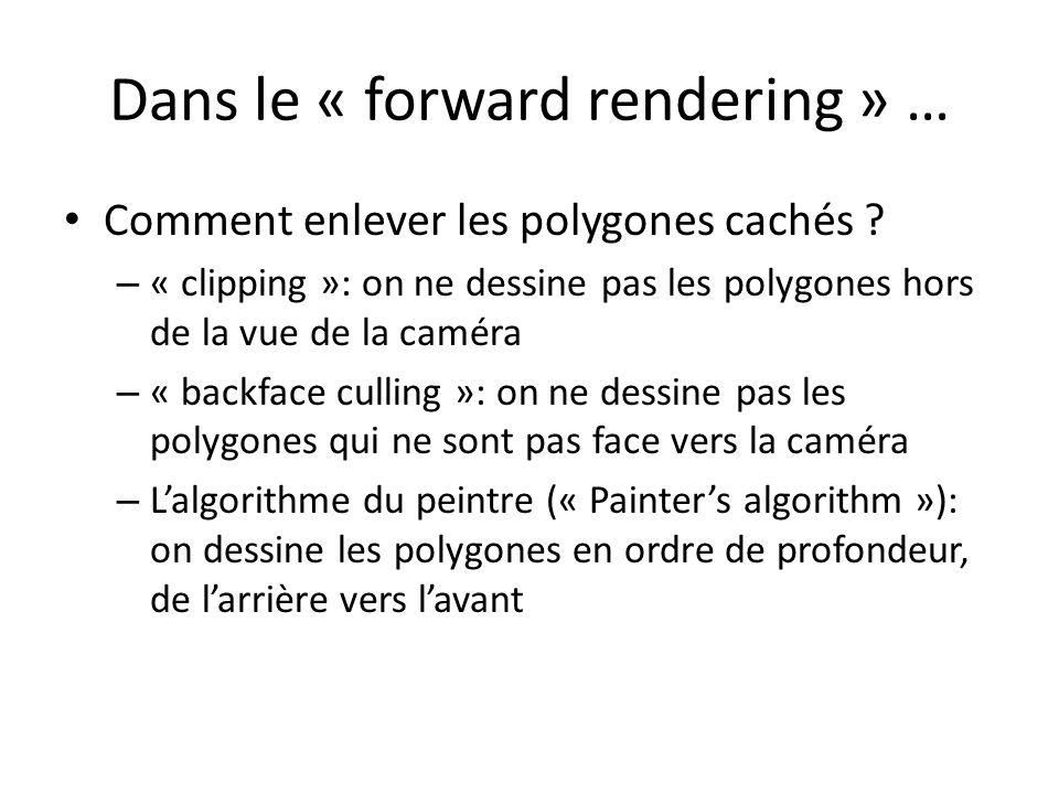 Dans le « forward rendering » … Comment enlever les polygones cachés ? – « clipping »: on ne dessine pas les polygones hors de la vue de la caméra – «