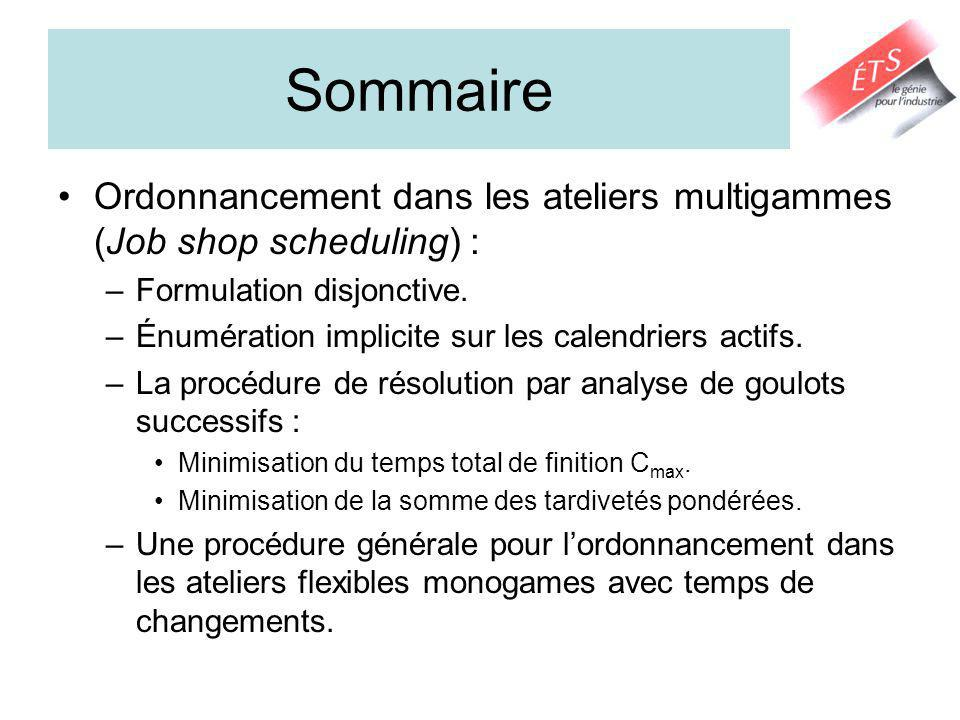 Sommaire Ordonnancement dans les ateliers multigammes (Job shop scheduling) : –Formulation disjonctive.