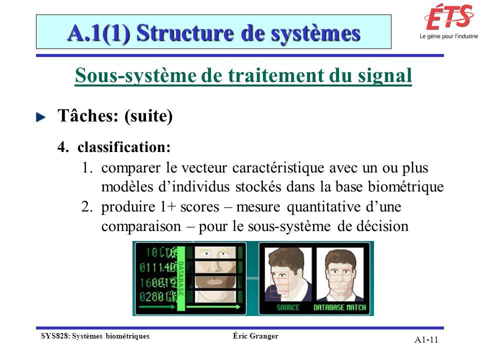A1-11 Sous-système de traitement du signal Tâches: (suite) 4.classification: 1.comparer le vecteur caractéristique avec un ou plus modèles dindividus