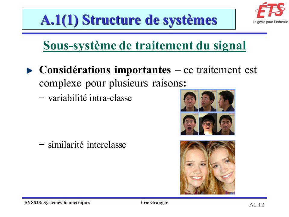 A1-12 Sous-système de traitement du signal Considérations importantes – ce traitement est complexe pour plusieurs raisons: variabilité intra-classe si