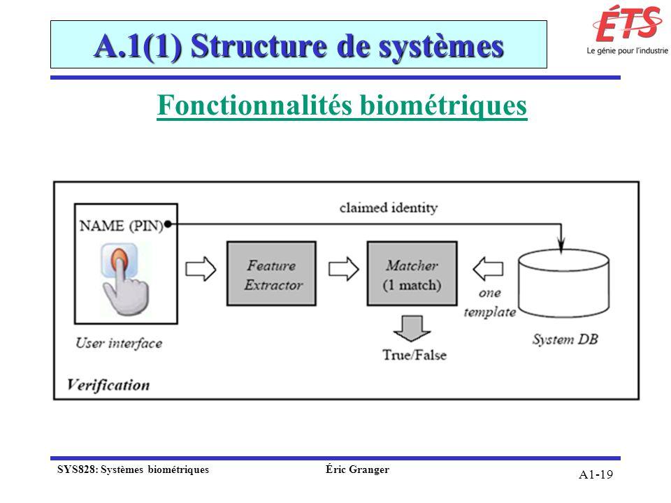 Fonctionnalités biométriques A.1(1) Structure de systèmes A1-19 SYS828: Systèmes biométriquesÉric Granger