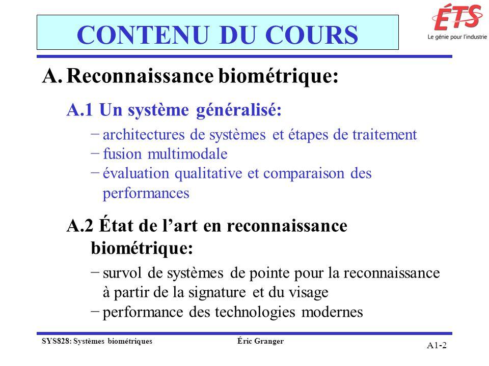 A1-2 CONTENU DU COURS A.Reconnaissance biométrique: A.1 Un système généralisé: architectures de systèmes et étapes de traitement fusion multimodale év