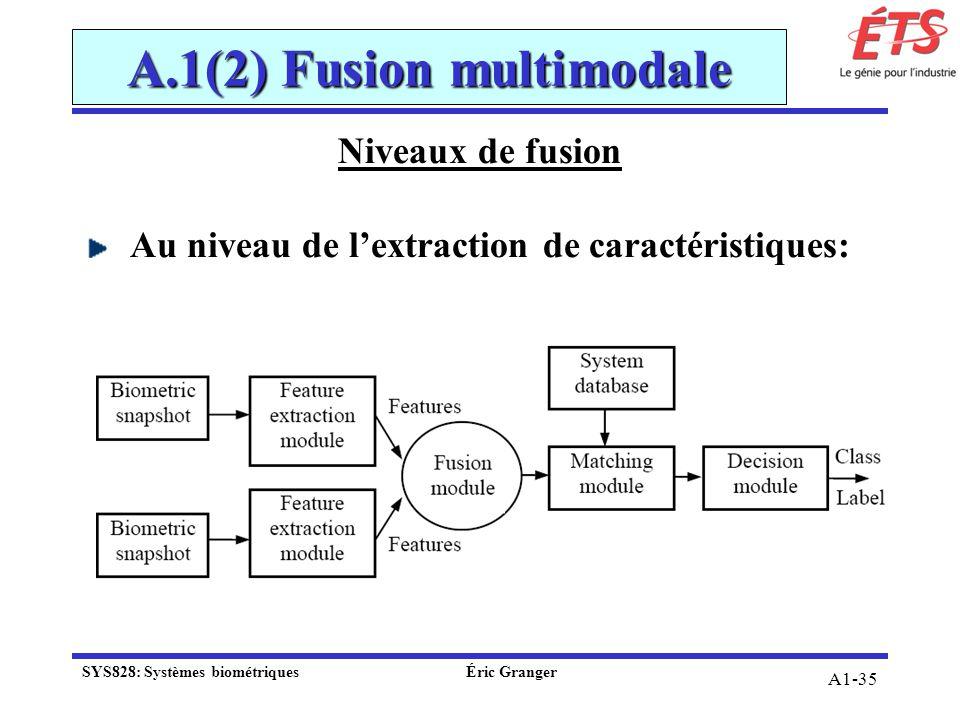 A1-35 A.1(2) Fusion multimodale Niveaux de fusion Au niveau de lextraction de caractéristiques: SYS828: Systèmes biométriquesÉric Granger