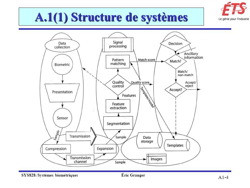 A1-4 A.1(1) Structure de systèmes SYS828: Systèmes biométriquesÉric Granger