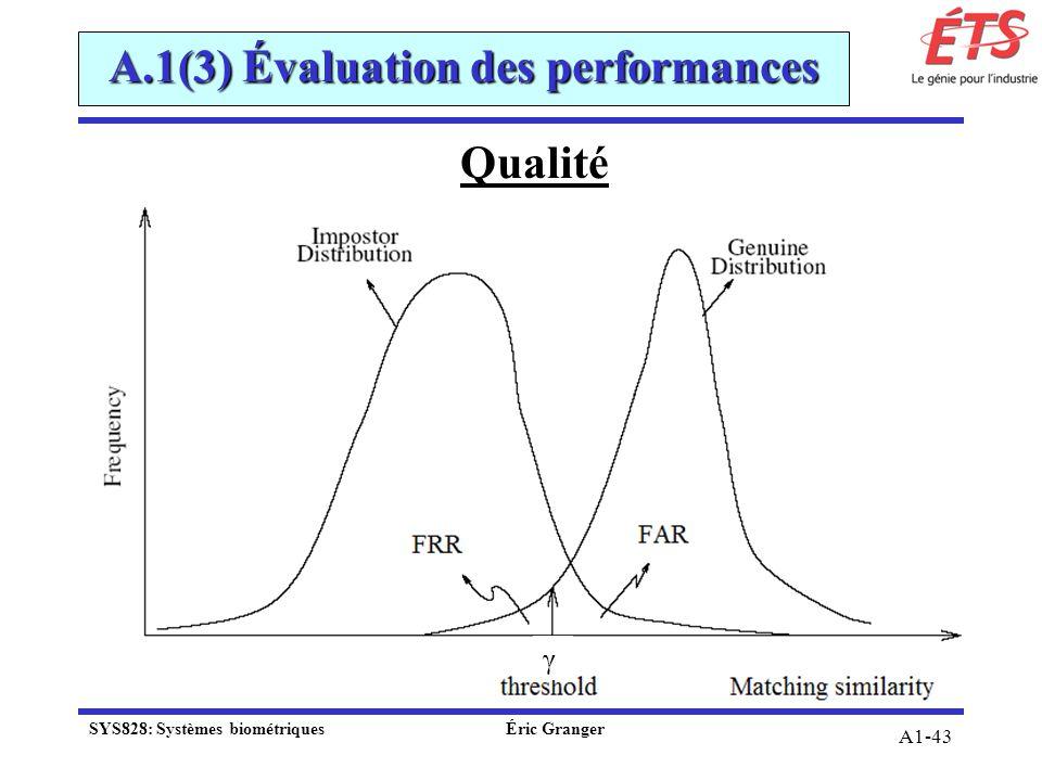 A1-43 Qualité A.1(3) Évaluation des performances γ SYS828: Systèmes biométriquesÉric Granger