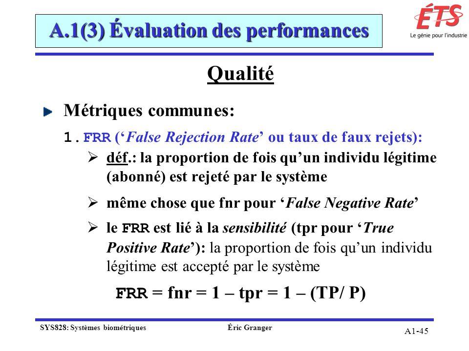 A1-45 Qualité Métriques communes: 1.FRR (False Rejection Rate ou taux de faux rejets): déf.: la proportion de fois quun individu légitime (abonné) est