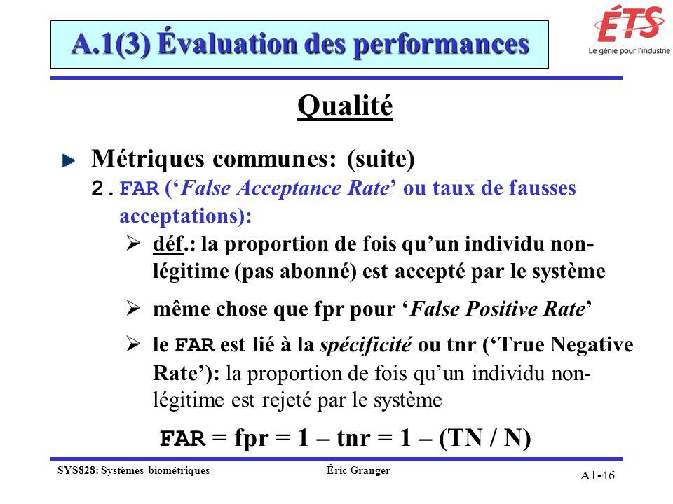 A1-46 Qualité Métriques communes: (suite) 2.FAR (False Acceptance Rate ou taux de fausses acceptations): déf.: la proportion de fois quun individu non
