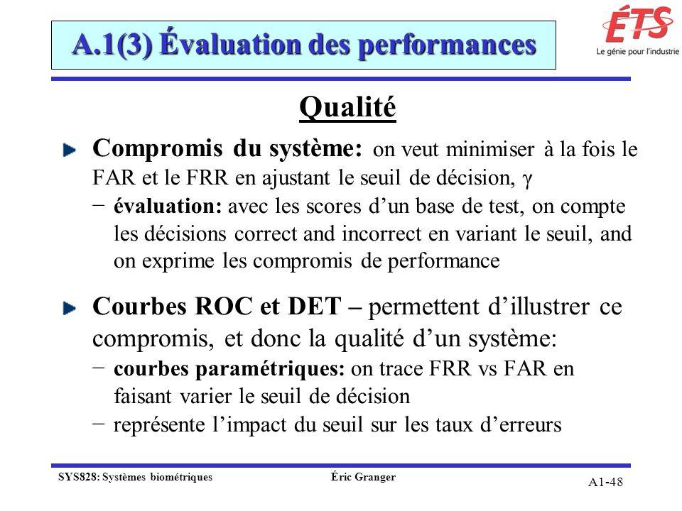 A1-48 Qualité Compromis du système: on veut minimiser à la fois le FAR et le FRR en ajustant le seuil de décision, γ évaluation: avec les scores dun b