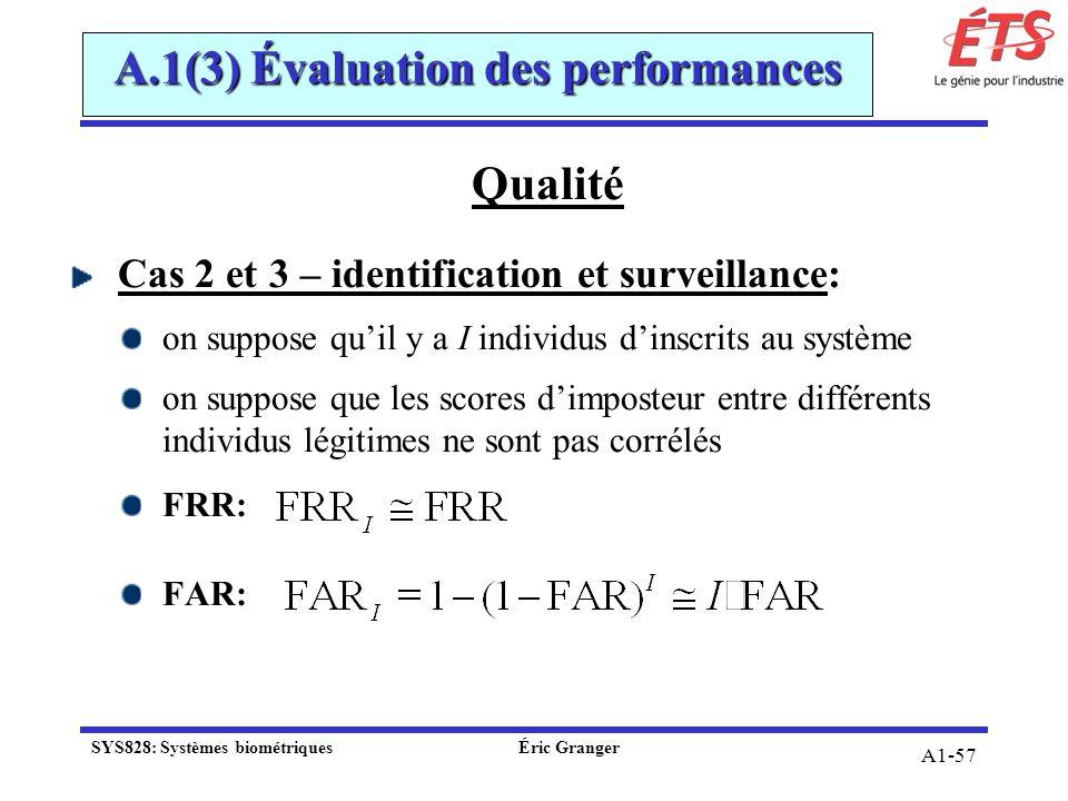 A1-57 A.1(3) Évaluation des performances Qualité Cas 2 et 3 – identification et surveillance: on suppose quil y a I individus dinscrits au système on