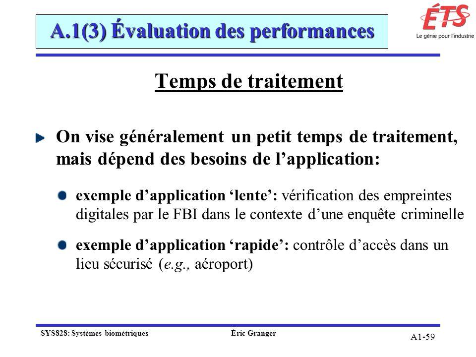 A1-59 Temps de traitement On vise généralement un petit temps de traitement, mais dépend des besoins de lapplication: exemple dapplication lente: véri