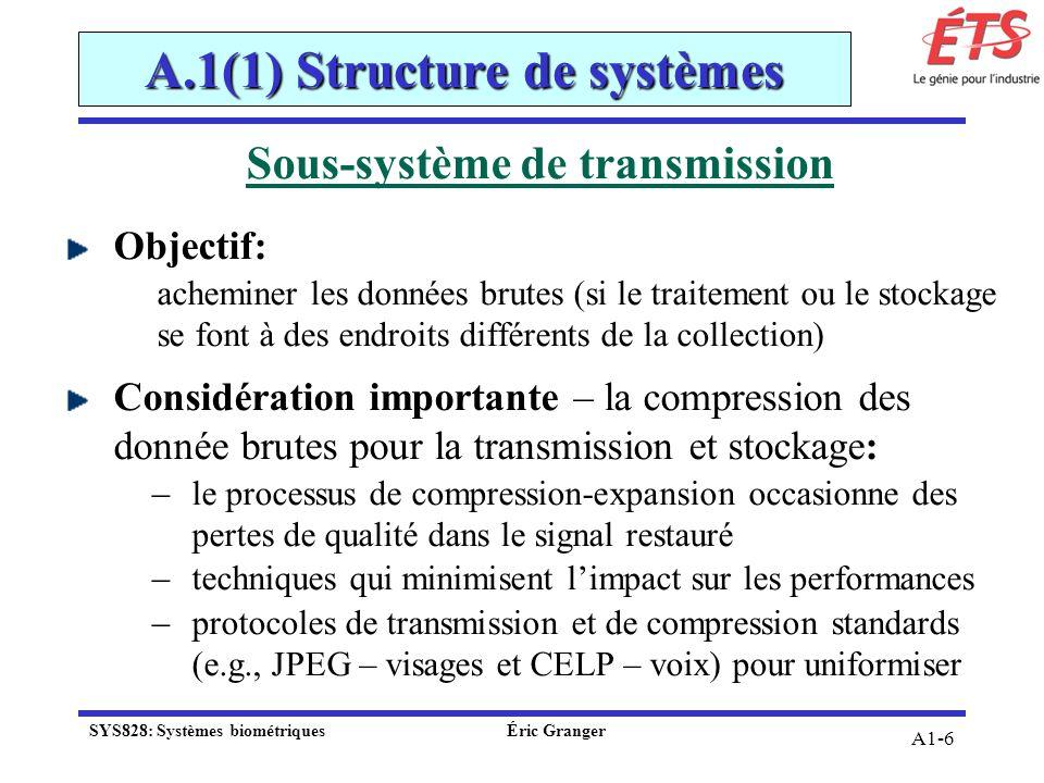 A1-6 Sous-système de transmission Objectif: acheminer les données brutes (si le traitement ou le stockage se font à des endroits différents de la coll