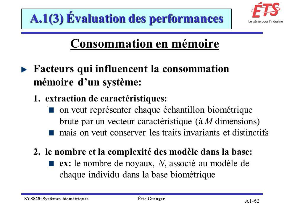 A1-62 Consommation en mémoire Facteurs qui influencent la consommation mémoire dun système: 1.extraction de caractéristiques: on veut représenter chaq