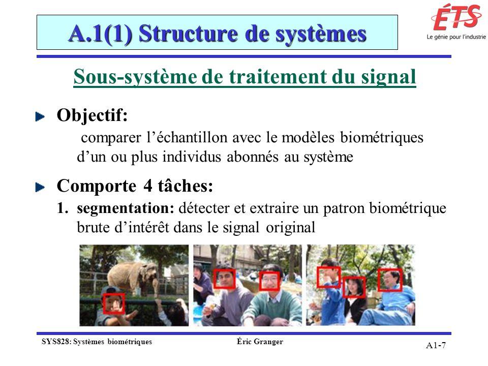 A1-7 Sous-système de traitement du signal Objectif: comparer léchantillon avec le modèles biométriques dun ou plus individus abonnés au système Compor