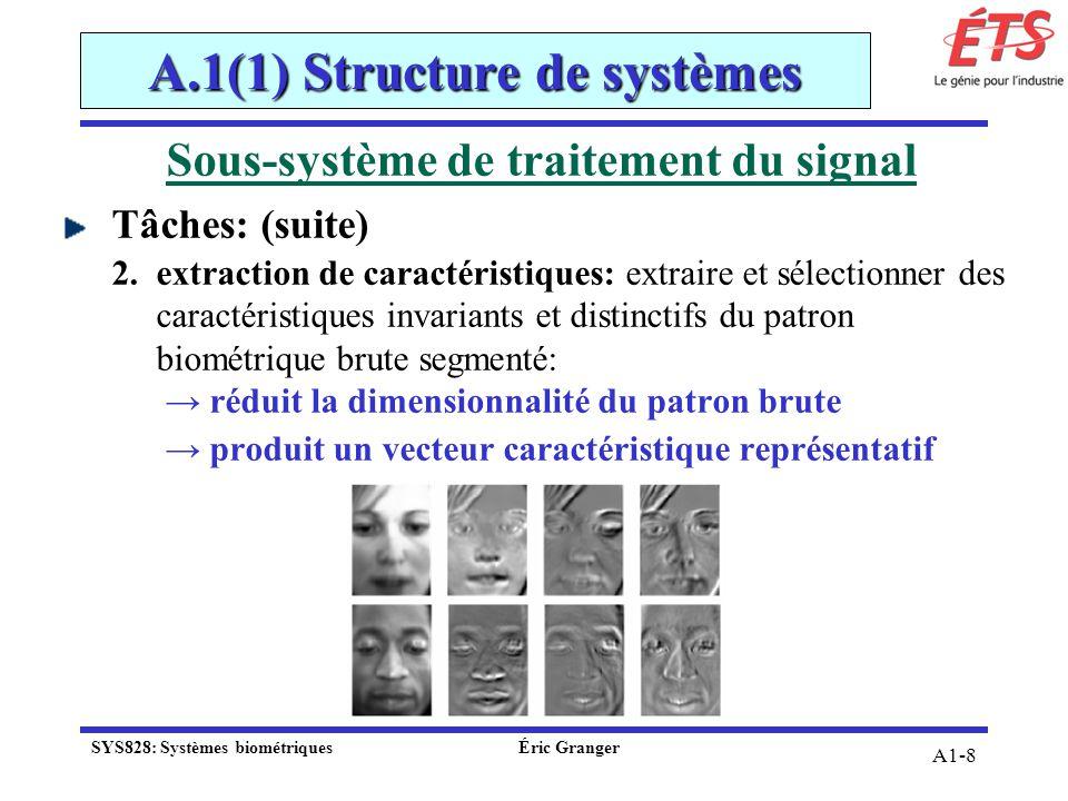 A1-8 Sous-système de traitement du signal Tâches: (suite) 2.extraction de caractéristiques: extraire et sélectionner des caractéristiques invariants e
