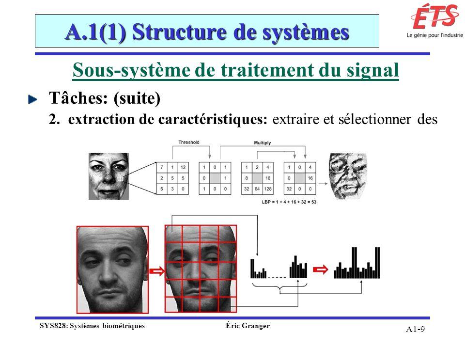 A1-9 Sous-système de traitement du signal Tâches: (suite) 2.extraction de caractéristiques: extraire et sélectionner des A.1(1) Structure de systèmes