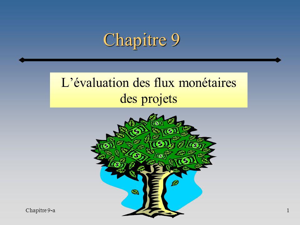 Chapitre 9-a1 Chapitre 9 Lévaluation des flux monétaires des projets