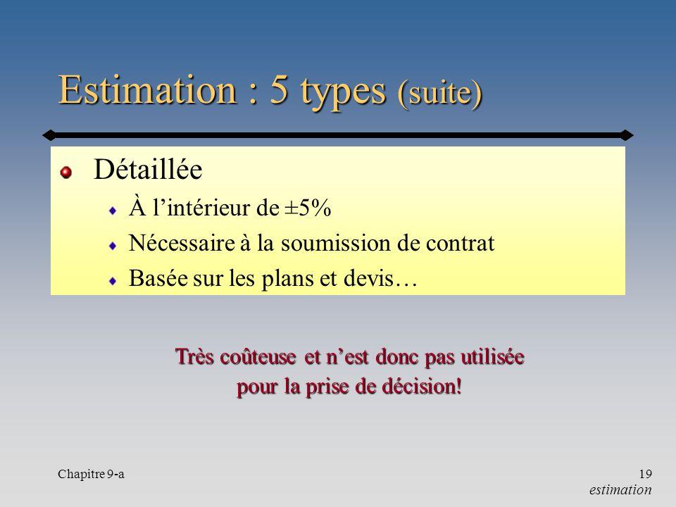 Chapitre 9-a19 Estimation : 5 types (suite) Détaillée À lintérieur de ±5% Nécessaire à la soumission de contrat Basée sur les plans et devis… estimati