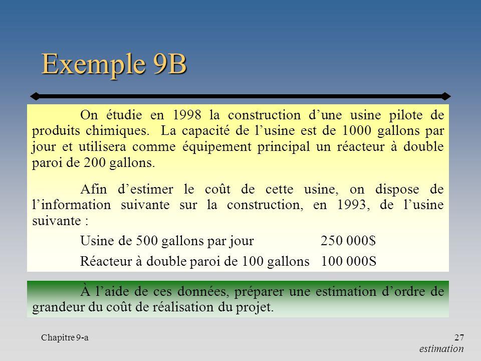 Chapitre 9-a27 Exemple 9B On étudie en 1998 la construction dune usine pilote de produits chimiques. La capacité de lusine est de 1000 gallons par jou