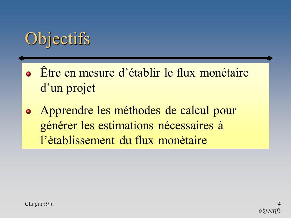 Chapitre 9-a4 Objectifs Être en mesure détablir le flux monétaire dun projet Apprendre les méthodes de calcul pour générer les estimations nécessaires