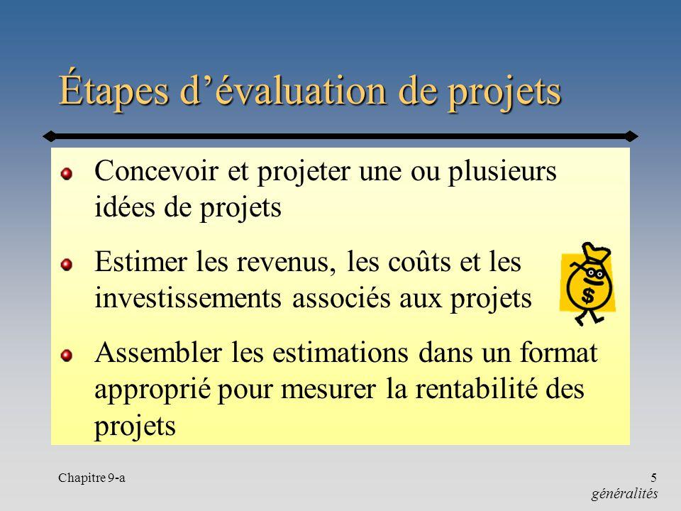 Chapitre 9-a5 Étapes dévaluation de projets Concevoir et projeter une ou plusieurs idées de projets Estimer les revenus, les coûts et les investisseme