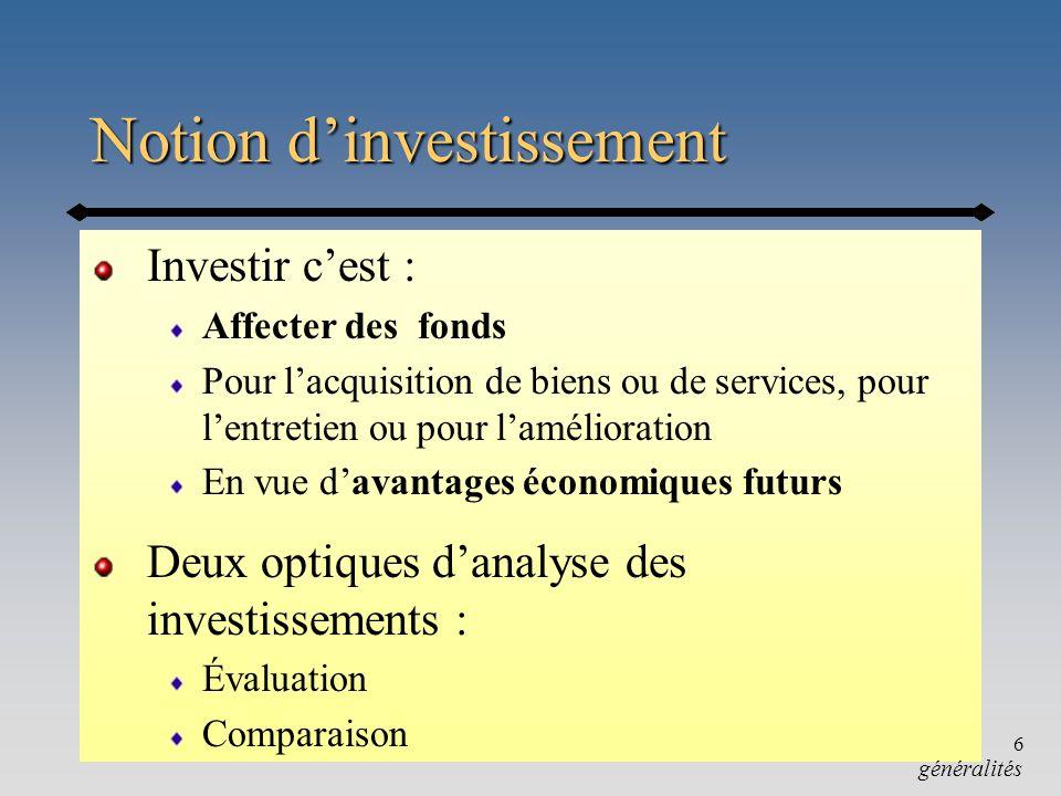 Chapitre 9-a6 Notion dinvestissement Investir cest : Affecter des fonds Pour lacquisition de biens ou de services, pour lentretien ou pour laméliorati