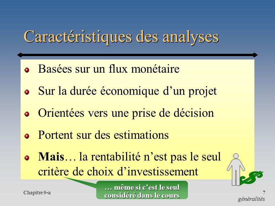 Chapitre 9-a7 Caractéristiques des analyses Basées sur un flux monétaire Sur la durée économique dun projet Orientées vers une prise de décision Porte