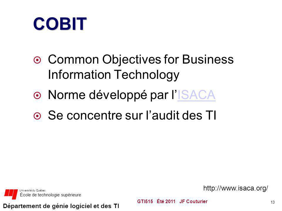 Département de génie logiciel et des TI Université du Québec École de technologie supérieure COBIT Common Objectives for Business Information Technolo