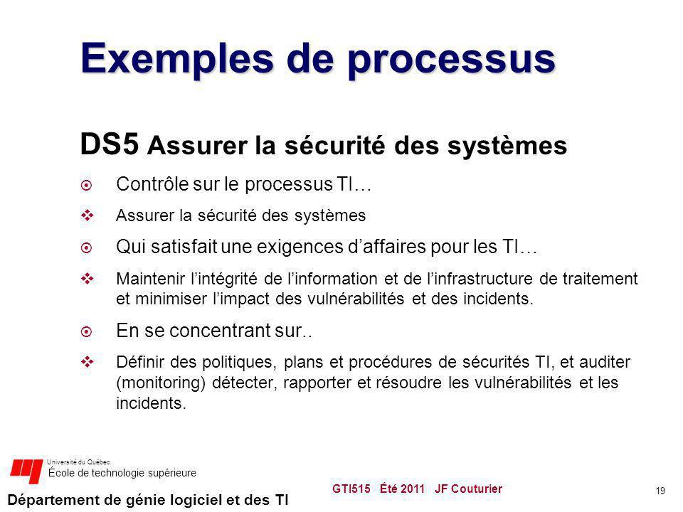 Département de génie logiciel et des TI Université du Québec École de technologie supérieure Exemples de processus DS5 Assurer la sécurité des système