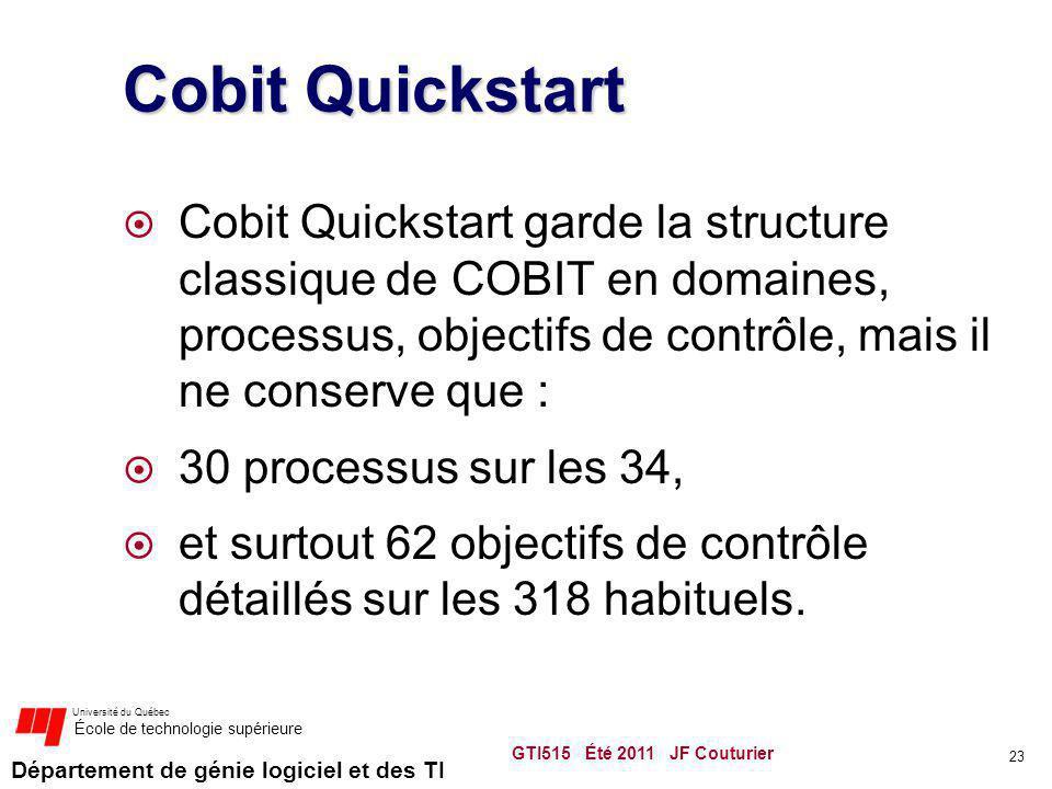 Département de génie logiciel et des TI Université du Québec École de technologie supérieure Cobit Quickstart Cobit Quickstart garde la structure clas