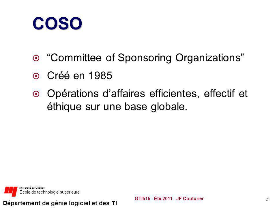 Département de génie logiciel et des TI Université du Québec École de technologie supérieure COSO Committee of Sponsoring Organizations Créé en 1985 Opérations daffaires efficientes, effectif et éthique sur une base globale.